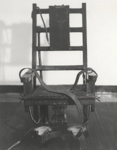 """Old Sparky"", the electric chair used at Sing Sing prison"